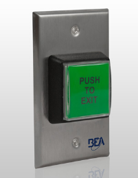 "Bea 10ACPBSS1, 2"" x 4"" Access Control Push Button W/ Push to Exit"" text"