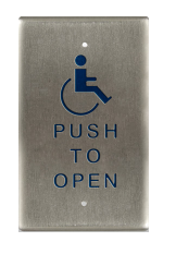 "Bea 10PBO241 Single Gang Push Plate W/ ""Push To Open"" Text And Logo"