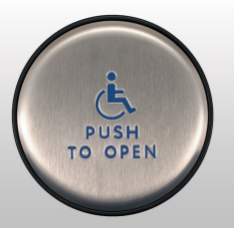 "Bea 10EMR61 Panther 6 inch round Push Plate assembly W/ Blue Handicap Logo And ""Push to Open"" text"