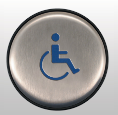 Bea 10EMR6L Panther 6 inch round Push Plate assembly W/ Handicap Logo