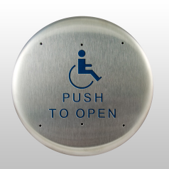 "Bea 10PBR1, 6"" Round Push Plate W/ Blue Handicap Logo And ""Push To Open"" Text"