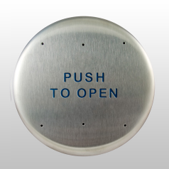 "Bea 10PBR, 6"" Round Push Plate W/ Blue ""Push To Open"" Text"