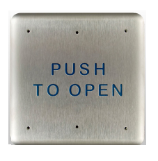 "Bea 10PBS, 4.75"" Square Push Plate W/ Blue ""Push To Open"" Text"