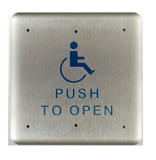 "Bea 10PBS1, 4.75"" Square Push Plate W/ Blue Handicap Logo And ""Push To Open"" Text"
