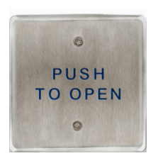 "Bea 10PBS45, 4.5"" Square Push Plate W/ Blue ""Push To Open"" Text, Stainless Steel"