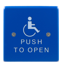 "Bea 10PBS451B, 4.5"" Blue Stainless Steel Square Push Plate W/ White Handicap Logo And ""Push To Open"" Text"