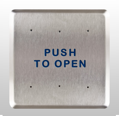 "Bea 10PBS6, 6"" Square Push Plate W/ Blue ""Push To Open"" Text, Stainless Steel"