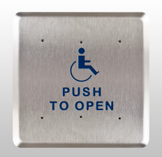 "Bea 10PBS61, 6"" Square Push Plate W/ Blue Handicap Logo And ""Push To Open"" Text"