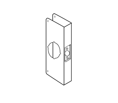 "Wrap Around Plate For Cylinder Door Locks with 2-1/8"" hole, 12"" height"