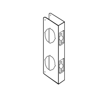 "Wrap Around Plate For Double Lock Combination Locksets with 2-1/8"" holes with 5-1/2"" centers"