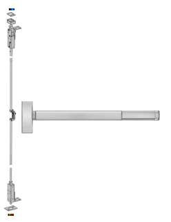 Precision 2700 (2703) Apex Wood Door Concealed Vertical Rod Exit Device - Wide Stile