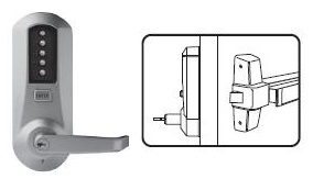 Right Hand Satin Chrome Finish Combination Entry and Key Override Core Not Included Kaba Simplex LP1000 Series Metal Mechanical Pushbutton Exit Trim Lock with Lever R//C Corbin Russwin