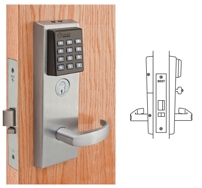 stanley best 45hz7dv electronic keypad mortise lever lock. Black Bedroom Furniture Sets. Home Design Ideas