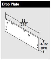 Door Closer Drop Plate For 7400 Series Door Closer Aluminum w// screws Dp74 Dorma