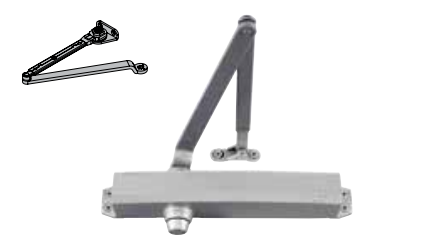 LCN 1450 HW/PA Cast Aluminum Door Closer - Tri-Pack Hold-Open Arm