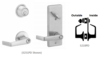 Schlage S210PD SAT Saturn Single Locking Interconnected Lock