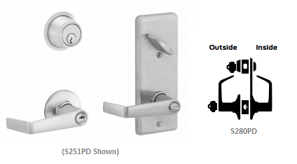Schlage S280PD SAT Saturn Interconnected Storeroom Lever Lock