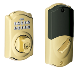 Schlage Connect BE369NXCAM505 Keypad Deadbolt Camelot Style Bright Brass