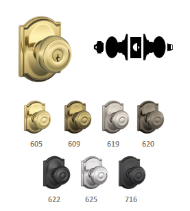F51A GEO Georgian Keyed Entry Knob with Camelot Decorative Rose