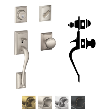 Schlage F60 Addison Entrance Handleset With Andover Knob With Addison  Decorative Rose