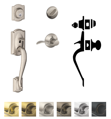 Schlage F60 Cam Camelot Entrance Handleset With Acc
