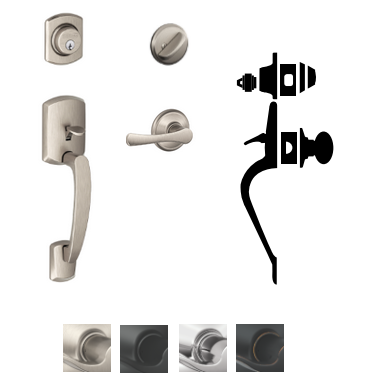 Schlage F60 Grw Greenwich Entrance Handleset With Vla