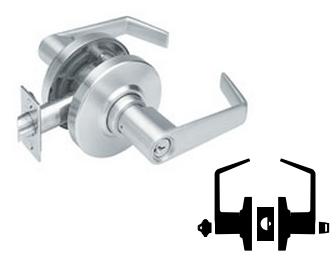 Schlage commercial AL53JDJUP626 AL Series Grade 2 Cylindrical Lock Satin Chrome Finish Entry Function Turn//Push Button Locking Jupiter Lever Design