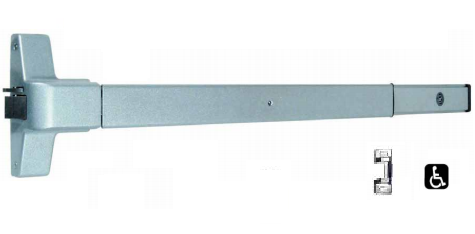Global Door Controls Push Bar Panic Exit Device Aluminum Aluminum with Exterior Lever Trim