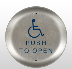 "Bea 10PBR451, 4.5"" Round Push Plate W/ Blue handicap logo and ""Push to Open"" text"
