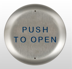 "Bea 10PBR45, 4.5"" Round Push Plate W/ Blue ""Push To Open"" Text"